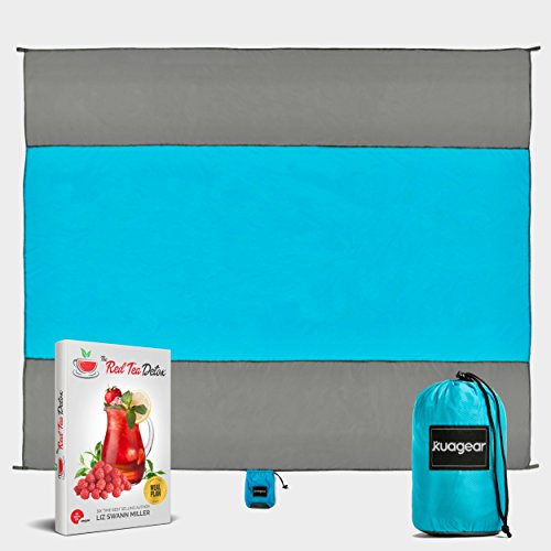 KUAGEAR Picnic and Beach Blanket Sand Proof + FREE Red Tea Detox eBook + FREE 14-Day Meal Plan - Oversized Sand Free Beach Blanket 10ft X 9ft - Light Weight - Water Resistant by KUAGEAR