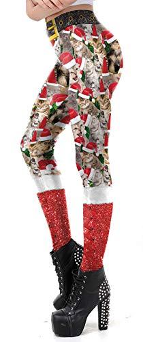 Christmas Leggings for Women High Waisted Floral Novelty Fashion Xmas Legging ()