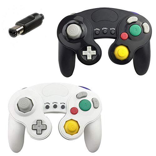 JBER Gamecube Controller Compatible with Nintendo Switch/Wii U/Wii/PC 2 Pack Classic Wired Gamecube Controller for Switch PC Wii u with Turbo Function (1 Pack, Black)