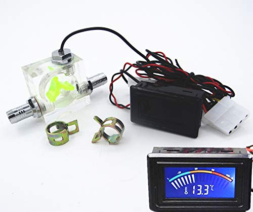 LED Thermometer 3 Way Flow Meter FlowMeter For Water Cooling Liquid Cooler System & 2 Barbs -
