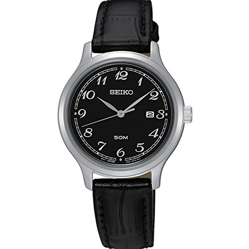 Seiko-SUR773-Stainless-Steel-Black-Leather-Strap-Band-Black-Dial-Watch