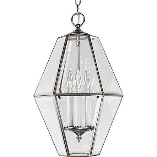(Progress Lighting P3716-09 6-Sided Foyer Fixture with Clear Bound Beveled Glass, Brushed Nickel)