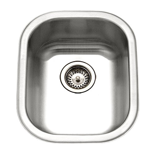 Series Stainless Steel Drop - Houzer CS-1407-1 Club Series Undermount Medium Bowl Bar/Prep Sink