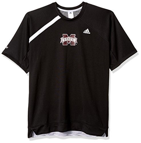 adidas NCAA Mississippi State Bulldogs Mens On Court S/Shooting Shirton Court S/Shooting Shirt, Black, X-Large Court Shooting Long Sleeve