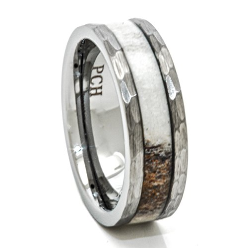 PCH Jewelers Deer Antler Ring in Tungsten Hammered Finish 8mm Comfort Fit Wedding Band (9)