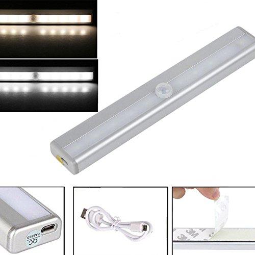 Closet Lights Touch Light,Wireless Motion Sensor Cabinet Lights 10-LED USB Rechargeable Closet Lights LED Under Cabinet Lighting(White) by cyclamen9 (Image #3)