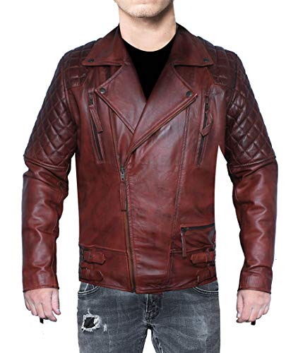 Classic Brando Vintage Diamond Cafe Racer Brown Biker Leather Jacket (Brown, XS- Suitable for 37-38 inches Chest) (Diamond Cafe Diamond Brown)
