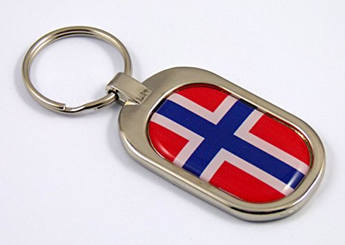 Chrome Key Ring Keychain Metal (Norway Flag Key Chain metal chrome plated keychain key fob keyfob Norwegian)