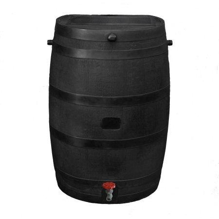 Rain Barrel 50 Gallon Flat Back Water Collection Storage Home Decor Lawn