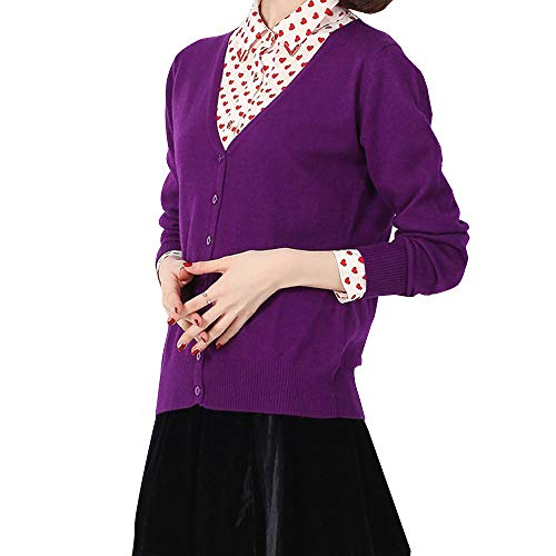 Cashmere Women's Button Low Neck Open-Front Cardigan Knit Pullover Sweater Purple