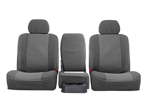 FRONT SEATS: ShearComfort Custom OEM Seat Covers for Chevy Silverado (2010-2013) in Gray for 40/20/40 w/Adjustable Headrests and Folddown Center Console w/Cupholders and Center Under Seat Cushi.