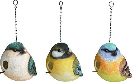 Transpac Imports Small Bird Friends with Masks 9 x 7 inch Resin Birdhouse Set of 3 ()