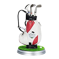 Office Desktop Clock Golf Club Ballpoint Pencil Holder Container Golf Bag with 3 Pens Home Decoration,Red