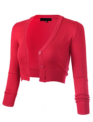 ARC Studio Women's Solid Button Down 3/4 Sleeve Cropped Bolero Cardigans S Rose Pink CO129 ()