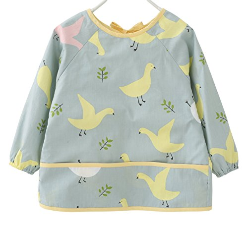 F&C Toddler Baby Waterproof Sleeved Bib With Catch-All Pocket (12-18M(70-80CM), Yellow pigeon)
