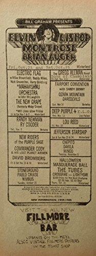 oddtoes concert posters and music memorabilia Elvin Bishop - Montrose - Ry Cooder Bill Graham Presents Handbill 1974 Rare