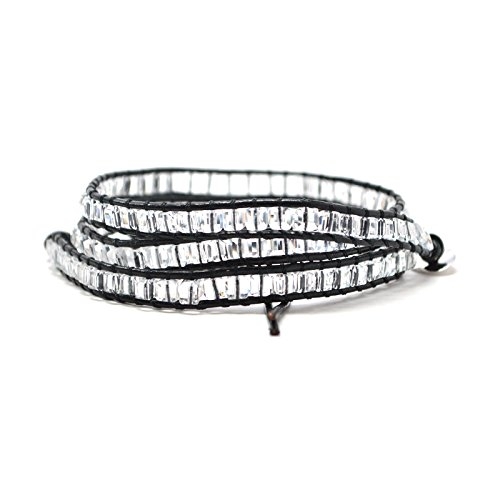 hemian Boho Style Black Leather Wrap Round Clear Beads Jewelry Bracelet Wrap Fashion (23 Inches) ()
