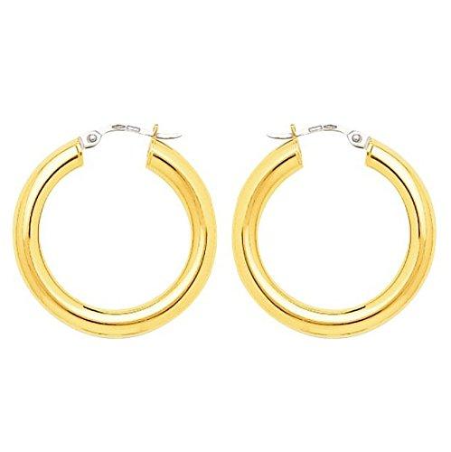 So Chic Bijoux © Boucles d'oreilles Femme Créoles Diamètre 20 mm Fil Rond 4 mm Or Jaune 750/000 (18 carats)