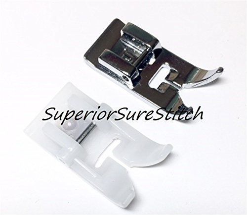 SuperiorSureStitch Zig Zag Sewing Machine Presser Foot Set: 1 Non-Stick Teflon & 1 Metal Snap-On Foot - Fits All Low Shank Snap-On Machines. for Singer, Brother, Babylock, Euro-Pro, Janome, Kenmore