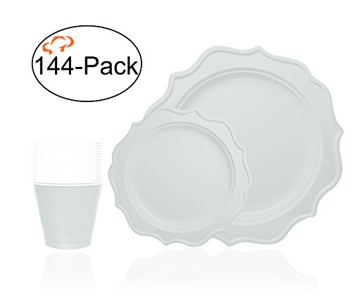 Tiger Chef 144-Pack White Color Scalloped Rim Disposable Party Supplies Set for 48 Guests, includes 48 10-Inch Dinner Plates, 48 8-Inch Hard Plastic Plates and 48 9-Ounce Cups - BPA-Free