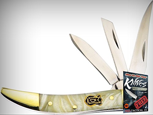 Frost Cutlery FMBS109IP3 Miller Bros 3 Blade Peanut Folding Limited Elite Knife Pearl Handle3