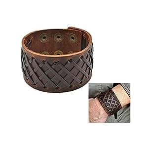 Amazon.com: Antique Men's Brown Leather Cuff Bracelet ...