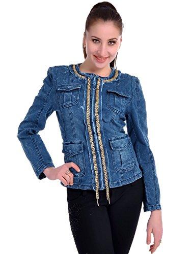 Anna-Kaci S/M Fit Blue Denim High Society Lady Hidden Front Zip Short Jacket - High Society Jacket