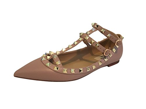 Kaitlyn Pan - Spitzverzierte Strappy Caged Ballerina Leather Flats Poudre Matte / Nude Straps / Gold Ohrstecker