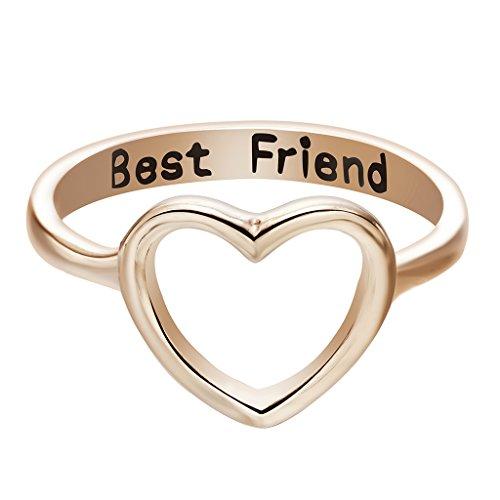 Qiandi Women's Heart Love Best Friend Promise Ring Gifts for Girls Friendship Jewelry