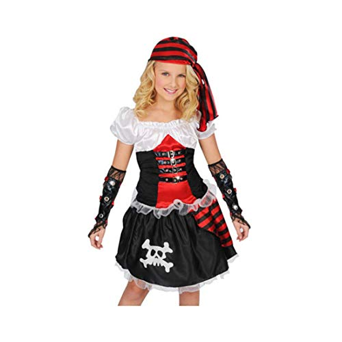NSPSTT Girls Pirate Costume Buccanner Princess Costume Fancy Dress Outfit Halloween Cosplay Red]()