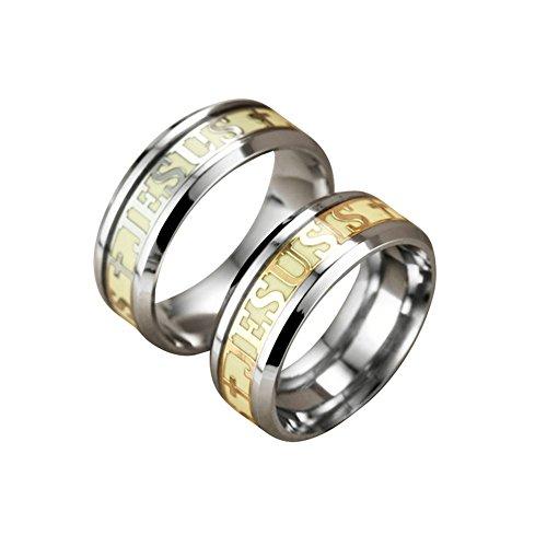 Luminous Christians Jesus Cross Ring Glowing Titanium Fluorescent Ring Ornaments Gift For Men Women Ring