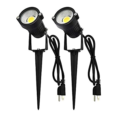 J.LUMI GSS6005 LED Outdoor Spotlights 5W, 120V AC, 3000K with Metal Spike,1 Pack and 2 Pack
