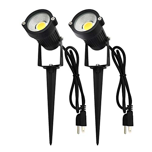 (J.LUMI GSS60052 LED Spotlight 5W, 120V AC, 3000K Warm White, Outdoor Use, Metal Ground Stake, Garden Light, Outdoor Spotlight, UL Listed 3-ft Cord with Plug (Pack of 2))