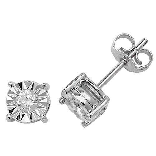 Lot de boucles d'oreilles clous Illusion Diamant Or Blanc 9 ct hpk2 0,25 ct