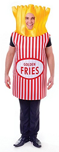 French Fancies Costume (French Fries Chips Unisex Fancy Dress Costume - One Size)