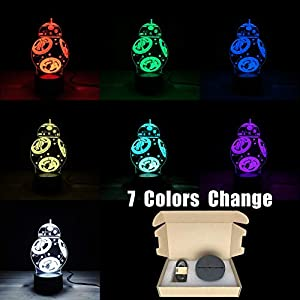 Cartoon Star War BB-8 3D Lamp Multicolor Color Change LED Bulb Night Light Touch Switch Acrylic Plate (Multi-Colored)