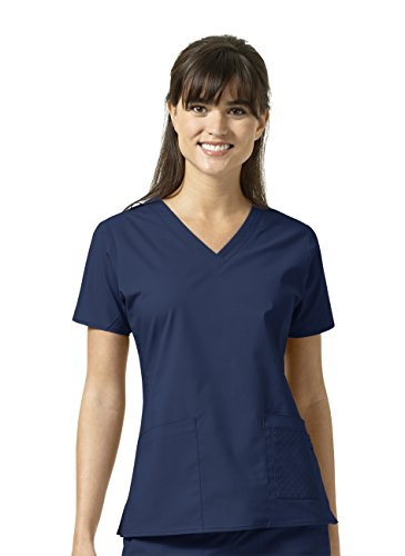 Signature Collection By Vera Bradley Women's Maya V-Neck Solid Scrub Top Navy (Womens Signature Collection)