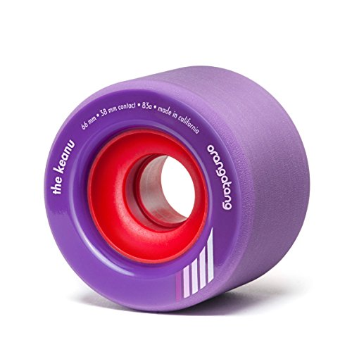 Orangatang Keanu 66 mm 83a Freeride Longboard Skateboard Wheels (Purple, Set of 4)