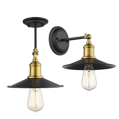 (Jazava Wall Sconces 2 Pack, Industrial Semi Flush Mount Ceiling Light Fixture for Farmhouse, Adjustable Arm Swing Wall Light, Brass Accent and Black Metal Shade Finish)