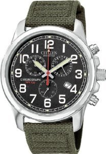 Citizen Men's Stainless Steel Eco-Drive Chronograph Canvas Strap AT0200-05E