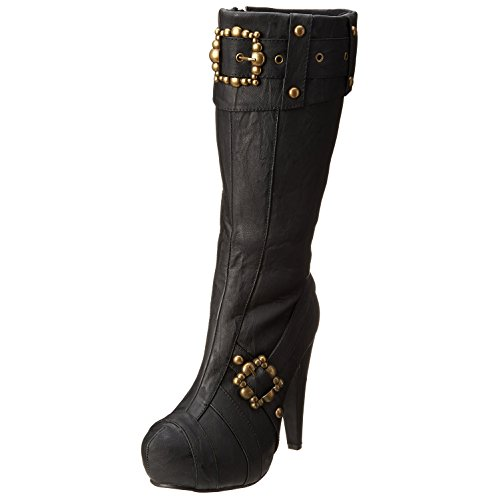 Womens Platform Pirate Boots Steampunk Studded Buckles 4 Inch Black or Brown Size: 8 Colors: Black