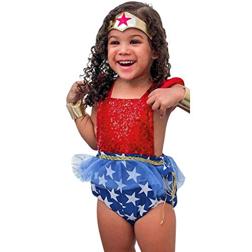 (Baby Girl Clothes Sequin Ruffle Weave Romper with Tulle Decor for Newborn 4th of July Patriotic Outfits Red)