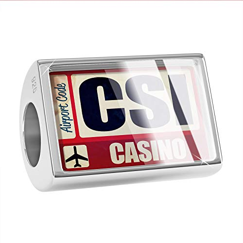 NEONBLOND Charm Airportcode CSI Casino 925 Sterling Silver Bead