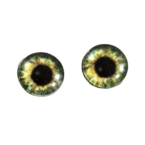10 Mm Olive (10mm Olive Green Glass Eyes Human Inspired Doll Irises for Art Polymer Clay Taxidermy Sculptures or Jewelry Making Set of 2)