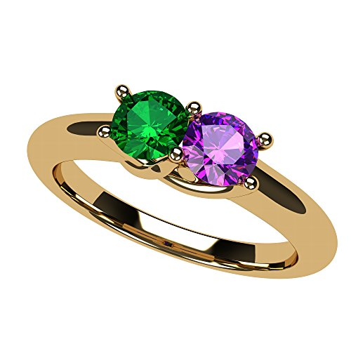 NANA Lucita Couples 2 Stones Ring with His & Hers Simulated Birthstone in 14k Yellow - Size 9 by NaNa