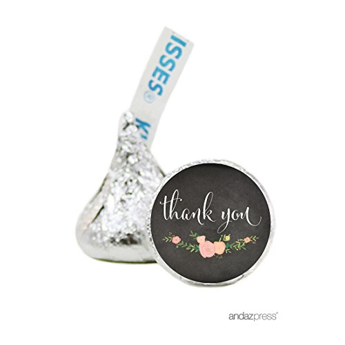 Hersheys Kisses Wedding Favors (Andaz Press Chalkboard Floral Party Wedding Collection, Chocolate Drop Labels for Hershey's Kisses Party Favors, Thank You, 216-Pack, Baby Bridal Shower Engagement Decor)