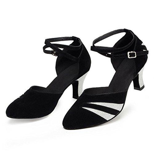 misu , Damen Tanzschuhe Schwarz schwarz / silber Schwarz / Silber