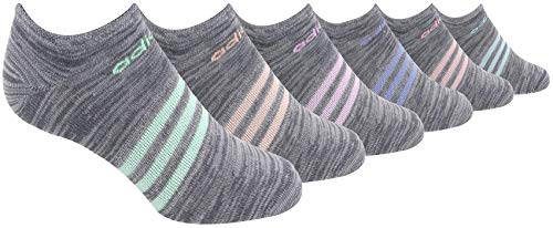 adidas Women's Superlite No Show Socks (6-Pack), Grey Space Dye/Assorted, Size (5-10)