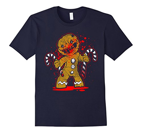 [Men's Scary Zombie Gingerbread Man T-shirt 2XL Navy] (Spawn Costume For Adults)