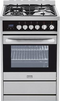 Haier HCR2250AGS 24″ Freestanding Gas Range with 4 Sealed Burners. 2 cu. ft. Oven Capacity Convection Oven Halogen Lighting and Heavy Duty Cast Iron Grates in Stainless
